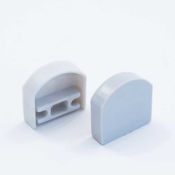 Plastic End Cap Grey for Surface Profile Round Diffuser 18mm
