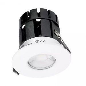 10W Smart Fire Rated Downlight CCT Dimmable White Bezel IP65