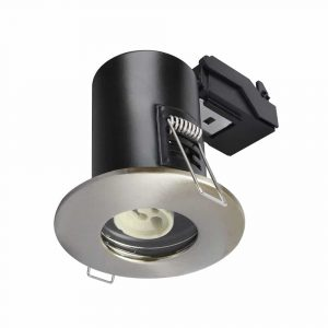 GU10 Shower Downlight Fire Rated Fitting IP65 Satin Nickel