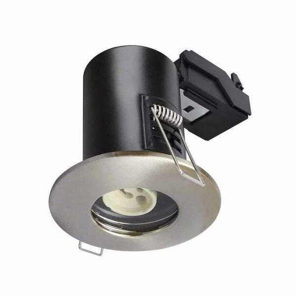 GU10 Shower Downlight Fire Rated Fitting IP65 Satin Nickel