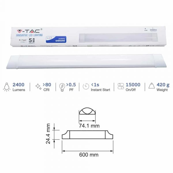 20W Slim LED Prismatic Batten Light SAMSUNG Size