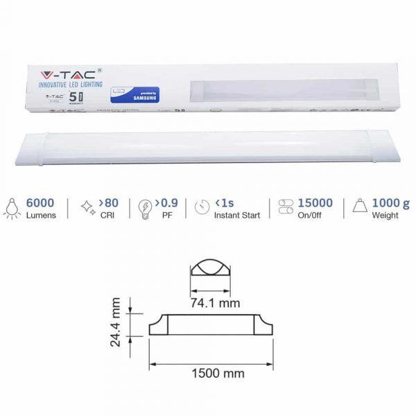 50W Slim LED Prismatic Batten Light SAMSUNG Size