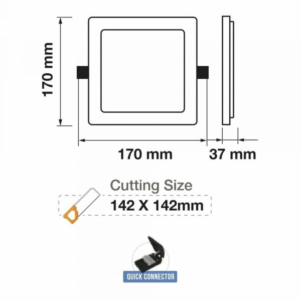 20W LED Mini Panel - Square - SAMSUNG CHIP - 5 Years Warranty