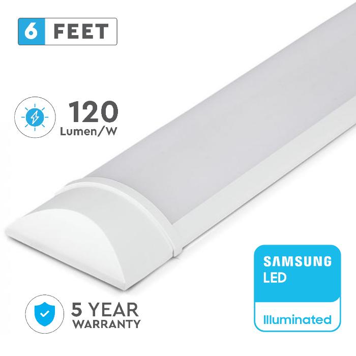 60W LED Batten Fitting, Prismatic, Slim, with SAMSUNG CHIP - 6ft (180CM)