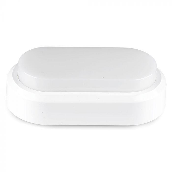 8W LED Bulkhead Light Rectangle Oval White Body IP54