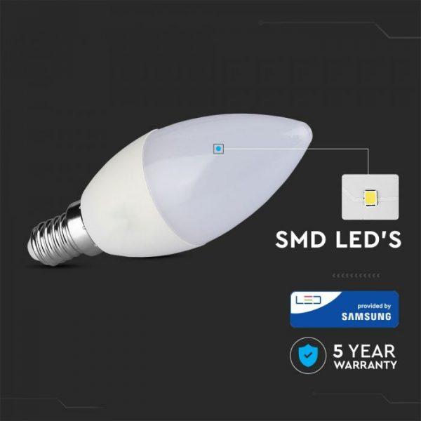 5.5W Plastic Candle Bulb C37 E14