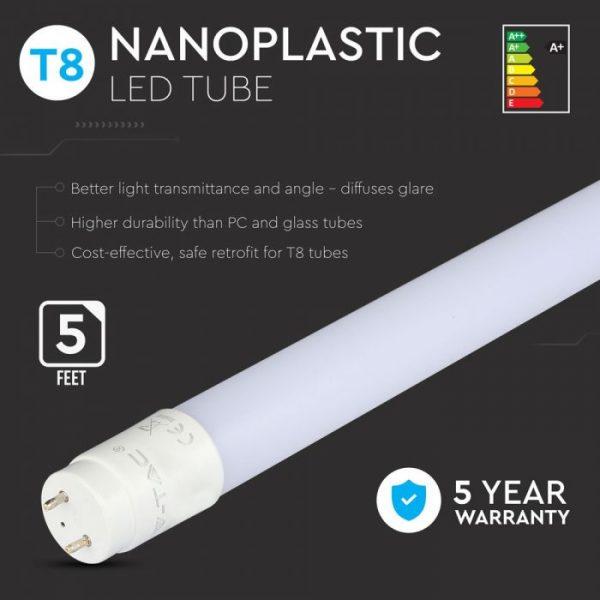 LED Tube Samsung Chip 150cm 22W G13 Nano Plastic Non Rotatable