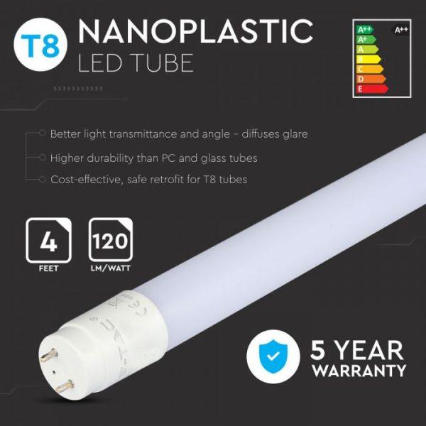 LED Tube SAMSUNG CHIP 120cm 18W G13 Nano Plastic 120 Lm/W