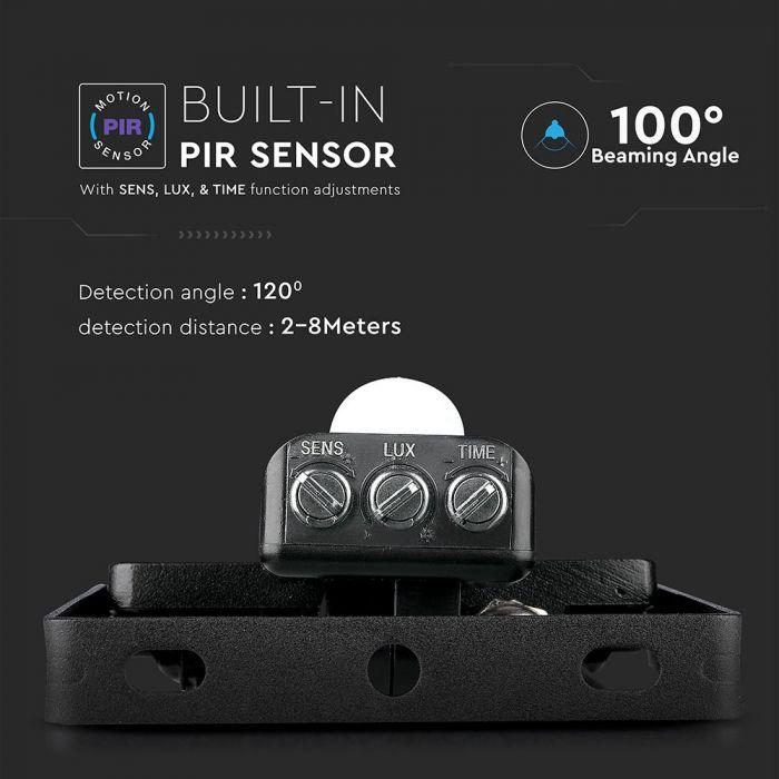 PIR LED security floodlights, Black sensor floodlights