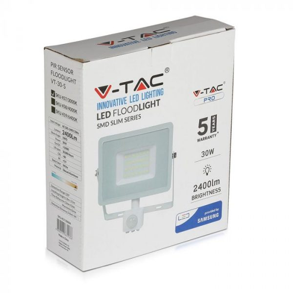 30W PIR LED Floodlight, White Security flood light