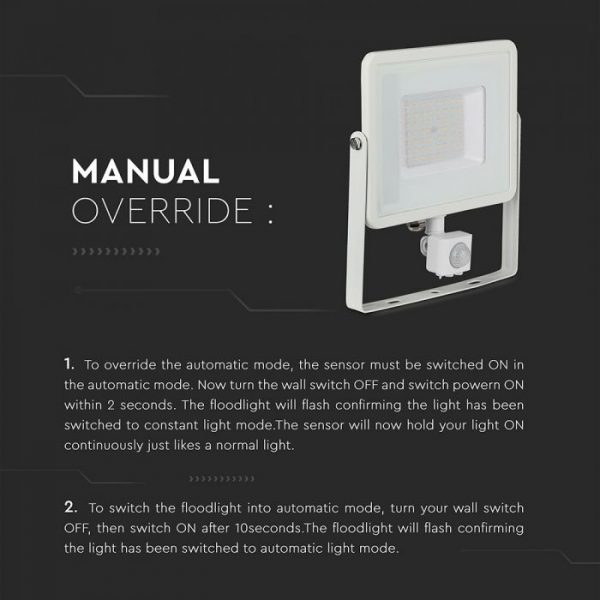 PIR floodlight with manual override, best 50w led floodlight with sensor