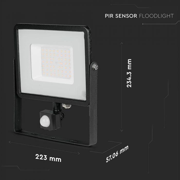 50W LED Floodlight PIR SENSOR SMD SAMSUNG CHIP Black Body