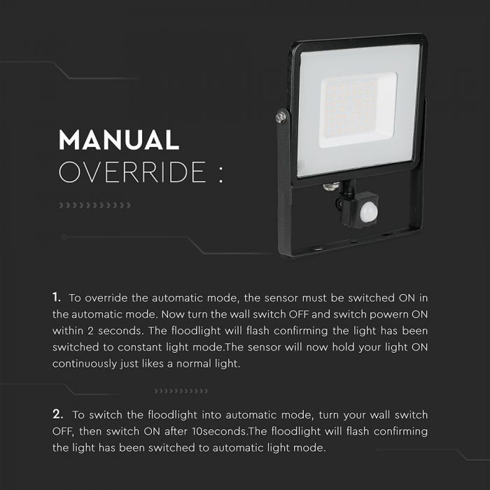 best 50w led floodlight with pir, motion sensor outdoor light with manual override