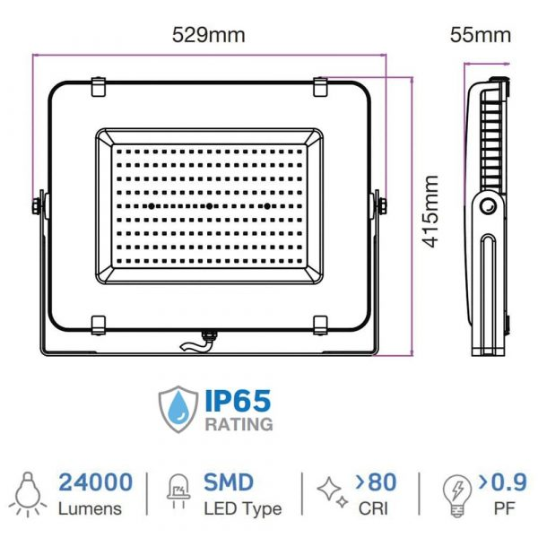 300W LED Floodlight, 100 degree Beam Angle, SMD Samsung Chip, 5 Years Warranty, IP65