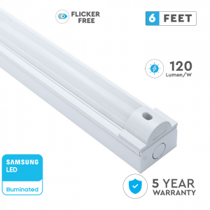 80W LED Batten Fitting Flicker Free 6ft/184cm with SAMSUNG CHIP, 5 Years Warranty