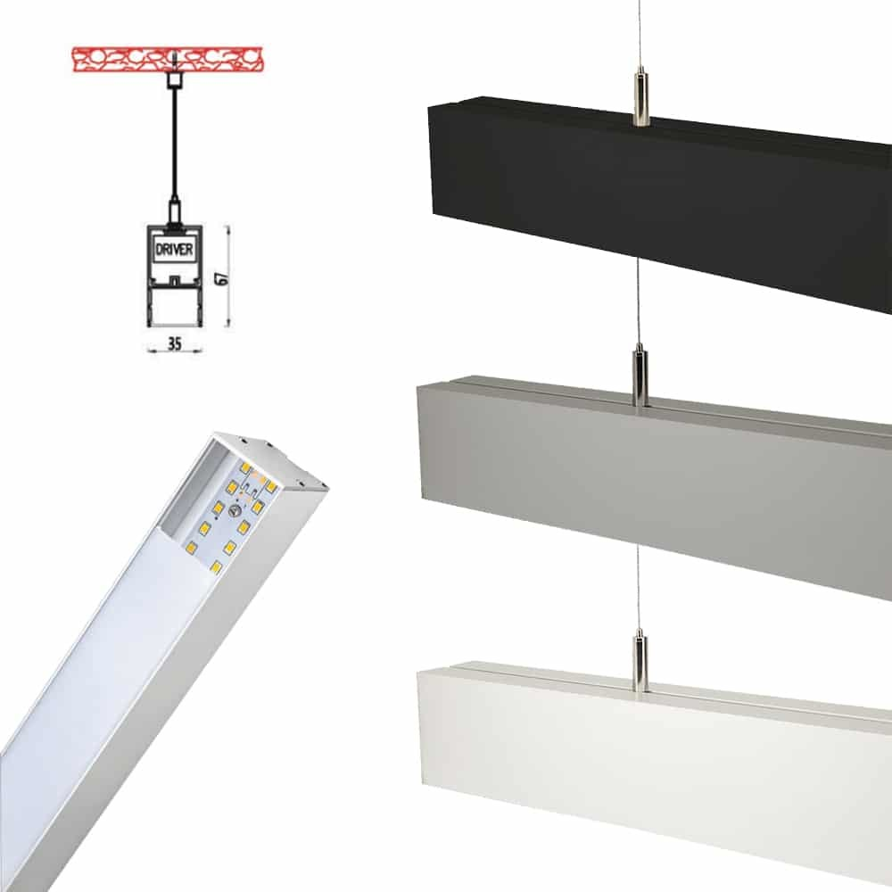 40W LED LINEAR HANGING SUSPENSION LIGHT WITH SAMSUNG CHIP DRIVER