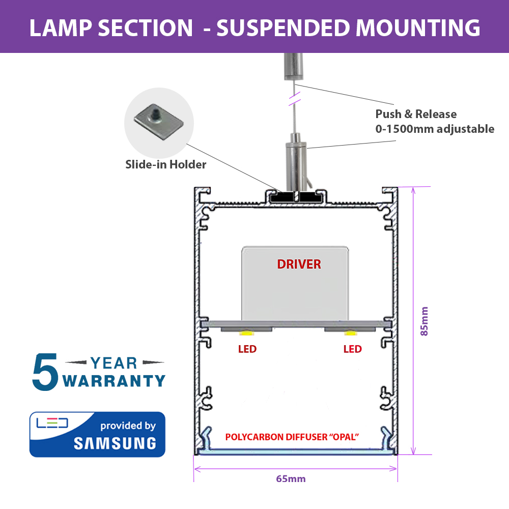 40W LED LINEAR HANGING SUSPENSION LIGHT WITH SAMSUNG CHIP AND DRIVER SECTION
