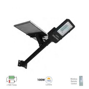 100W SOLAR LED Street Lamp + Battery and Remote Control 6000K (white)