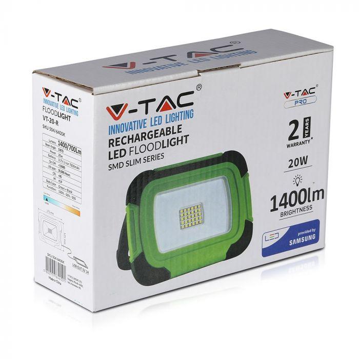 20W rechargeable floodlight, V-Tac VT-20-R