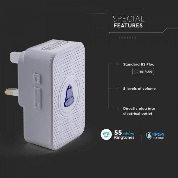 White Doorbell Chime Receiver Box