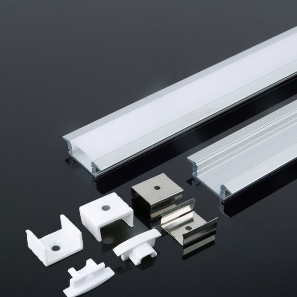 Recessed Aluminium Led Channel set 2000mm x 24.7mm x 7mm Milky Diffuser