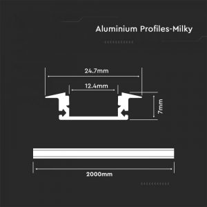 Recessed Aluminium Led Channel set 2m*24.7mm*7mm Milky Diffuser