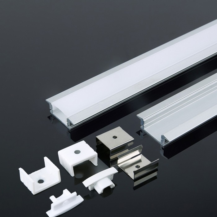 Recessed Silver Aluminum LED Channel set Milky Diffuser 2m