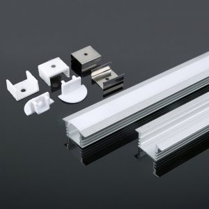 Recessed Anodised Aluminium LED Channel set - 2000x24.5x12.2mm - Milky Diffuser 2m