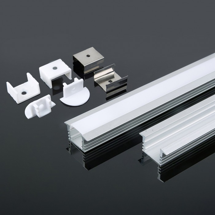 Recessed Anodised Aluminum LED Channel set Milky Diffuser 2m