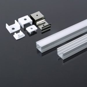 Aluminium LED Square Channel set 2000x17.4x12.1mm - Milky Diffuser Cover