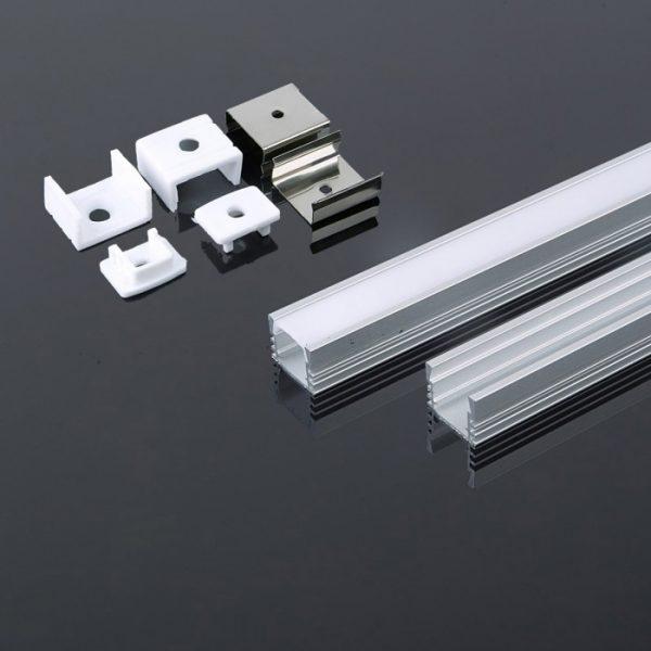 Aluminium LED Square Channel set 2000x17.4x12.1mm - Milky Diffuser Cover