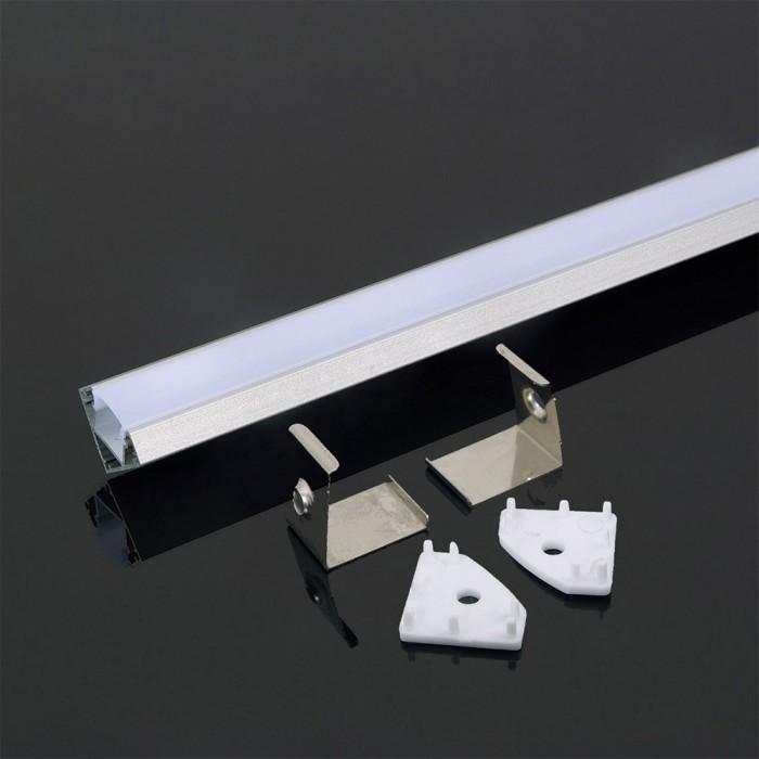 Corner Silver Aluminium LED Channel Thick set - 2000x19x12.1mm - Milky Diffuser 2m