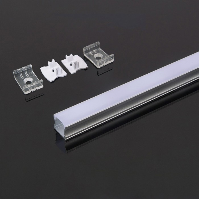 Deep Aluminium LED Channel Square set with Milky Diffuser Cover 2000x17.2x15.5mm