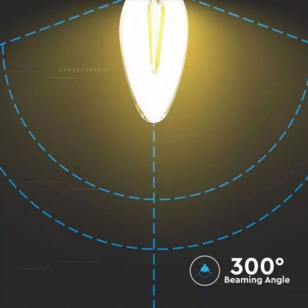 4W Candle Filament Bulb Dimmable B15 - Clear Cover - Samsung Chip 3000K