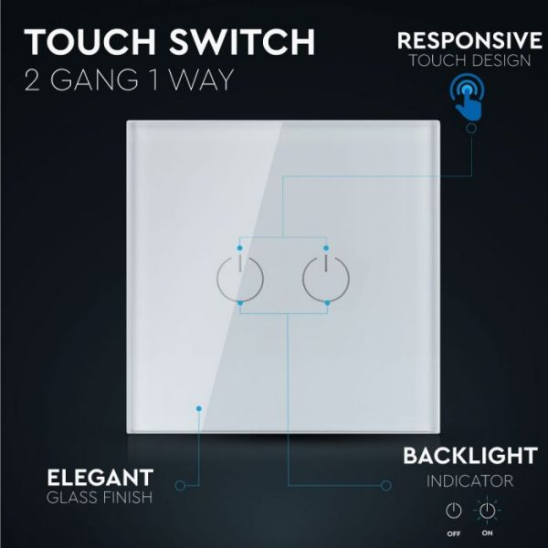 2 Gang 1 Way Touch Switch White