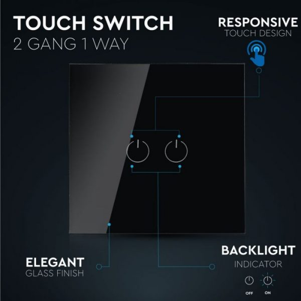 2 Gang 1 Way Touch Switch Black