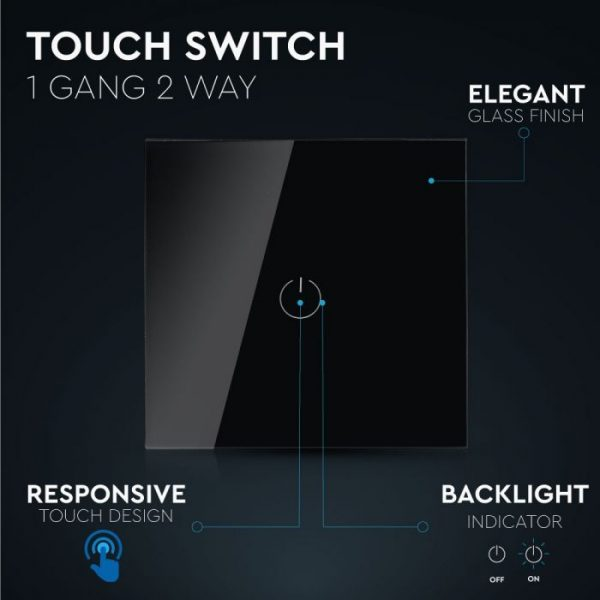1 Gang 2 Way Touch Switch Black