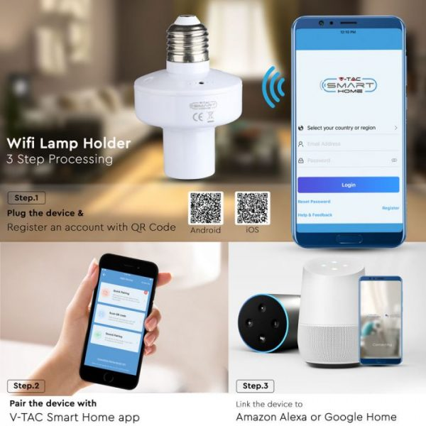 WIFI Lamp Holder-compatible with Amazon Alexa and Google Home
