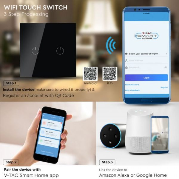 Double WI-FI Touch Switch Black - Compatible with Amazon Alexa and Google Home