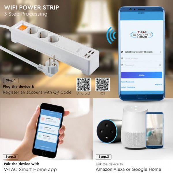 EU WIFI Power Strip - compatible with Amazon Alexa and Google Home