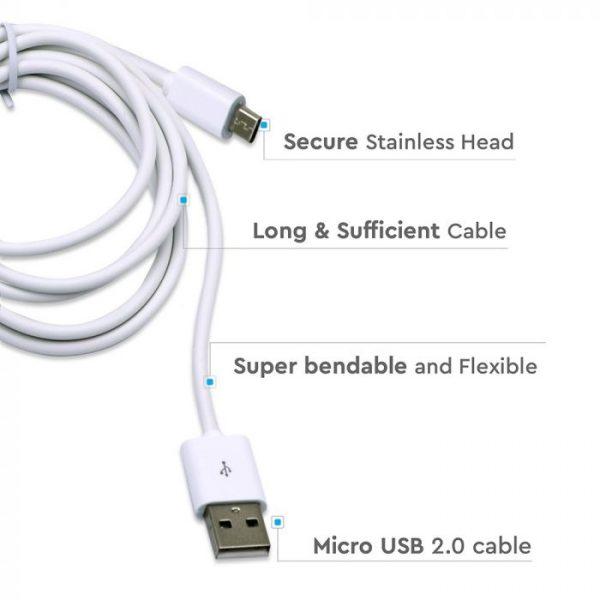 1.5M Micro USB Cable White