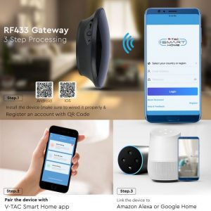 RF433 Smart Gateway compatible with Amazon Alexa and Google Home