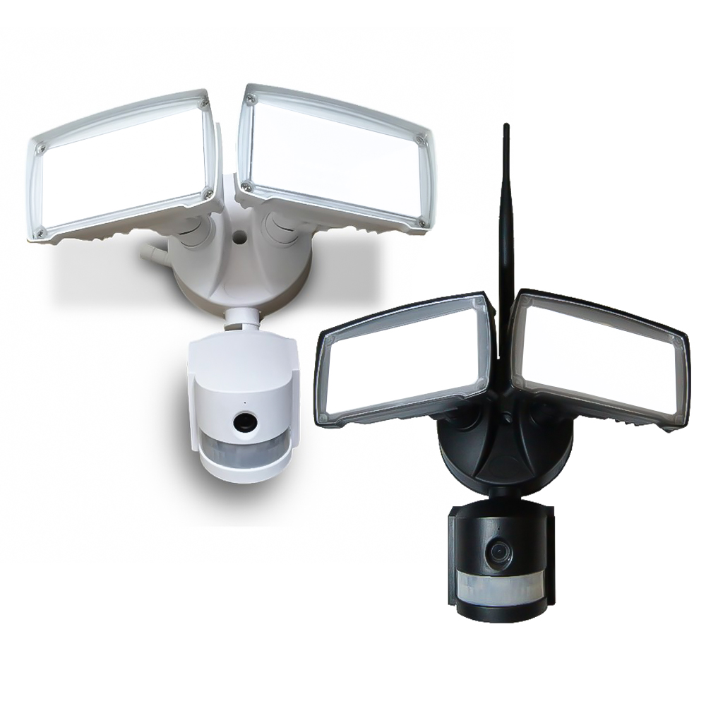LED floodlight with PIR and camera