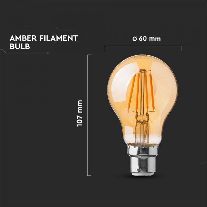 4W A60 Filament Bulb - Amber Cover
