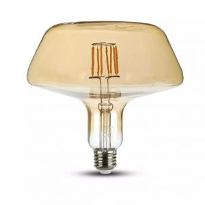 8W T180 LED Filament Bulb Amber Glass