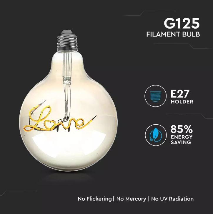 5W LED G125 LED FILAMENT BULB - Smokey Glass