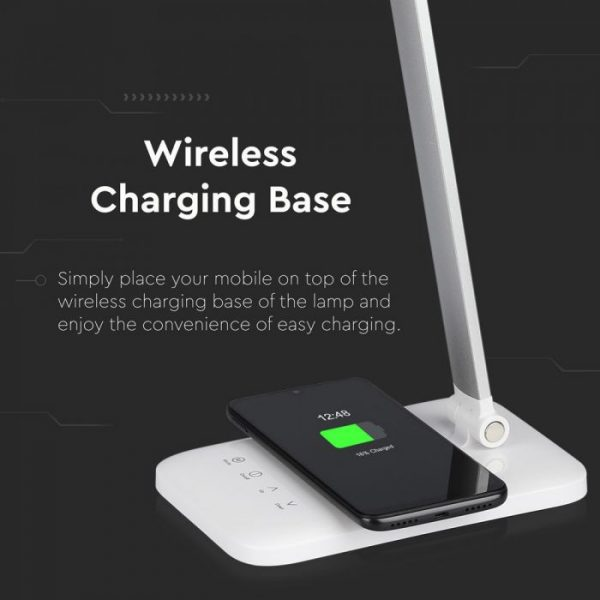 7W Led Table Lamp with Wireless Charger CCT 3in1 White