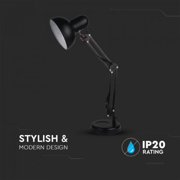 DESIGNER TABLE LAMP WITH ADJUSTABLE METAL BRACKET & Stand Foot+SWITCH & E27 HOLDER-BLACK