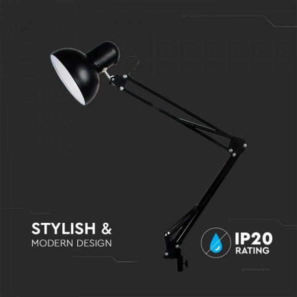 Designer Table Lamp Black - Adjustable Metal Bracket, Switch, E27 holder