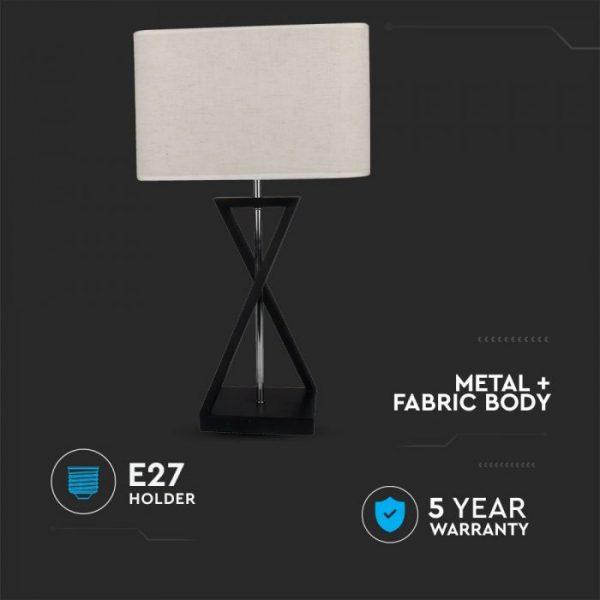 Designer Table Lamp Ivory Square Lampshade - Black Metal Base, Switch, E27 holder